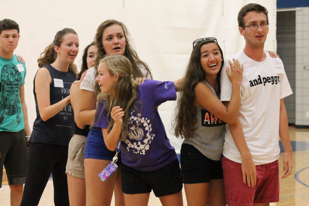 New students play Ships and Sailors at First-Year Follies on Aug. 18 in Henry J. Freede Wellness and Activity Center. Photo: Elina Moon